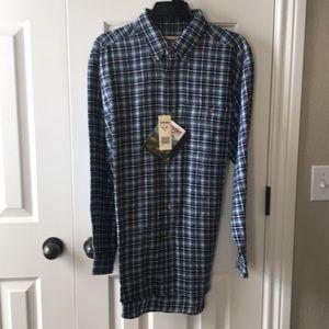 NWT wrangler rugged wear blue plaid flannel shirt!